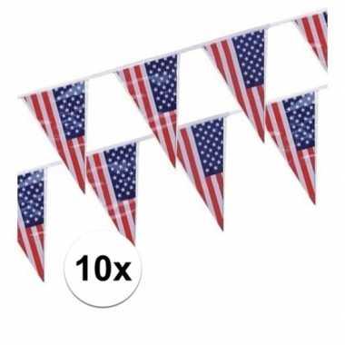 10x plastic amerikaanse vlaggetjes slingers