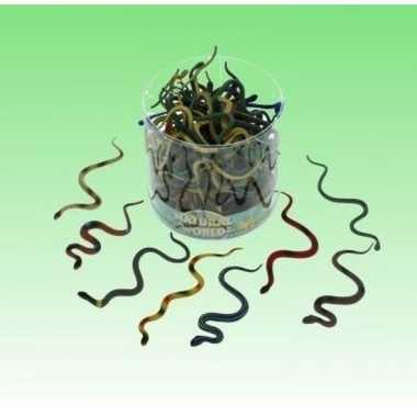 10x plastic speelgoed dieren slangen 15 cm
