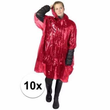 10x rode poncho met capuchon voor volwassenen