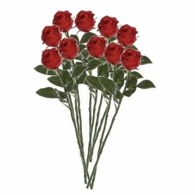 10x rode rozen kunstbloemen 45 cm