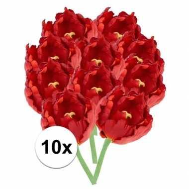 10x rode tulp deluxe kunstbloemen 25 cm