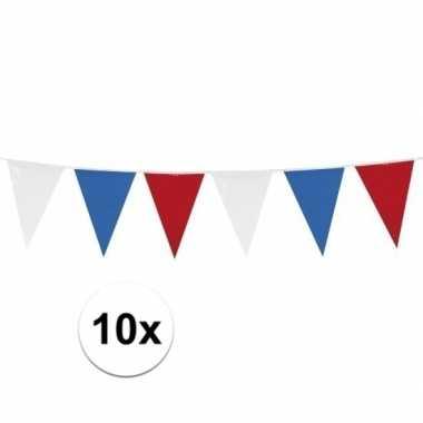 10x rood/wit/blauwe vlaggetjes lijnen