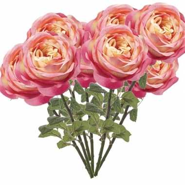 10x roze rozen kunstbloemen 66 cm