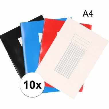 10x school schriften a4 met ruitjes 5 mm