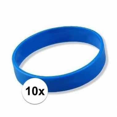 10x siliconen armbandjes blauw