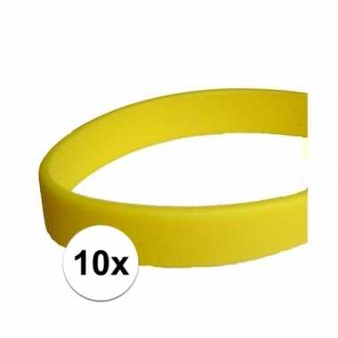 10x siliconen armbandjes geel