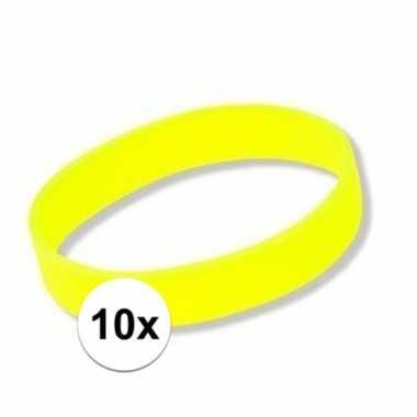 10x siliconen armbandjes neon geel