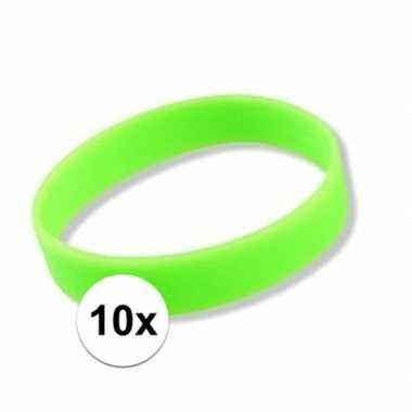 10x siliconen armbandjes neon groen