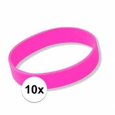 10x siliconen armbandjes roze