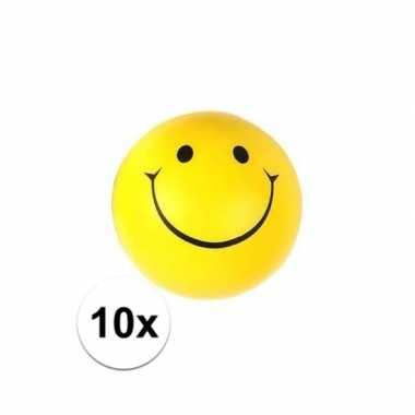 10x smiley stressbal 6 cm