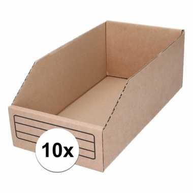 10x sorteer/opslag bakjes 15 x 30 cm van karton