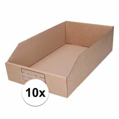 10x sorteer/opslag bakjes van 25 x 42 cm van karton