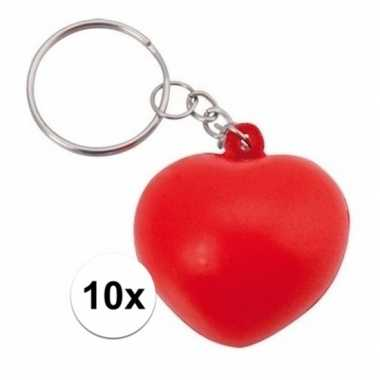 10x stressbal sleutelhanger hartje 3,6 cm
