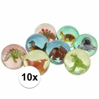 10x stuiterballen met een dinosaurus