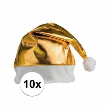 10x stuks gouden glimmende kerstmutsen