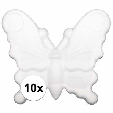 10x stuks piepschuim vlinders van 12,5 cm