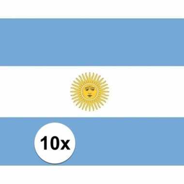 10x stuks vlag van argentinie plakstickers