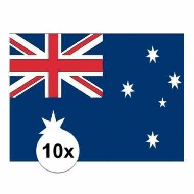 10x stuks vlag van australie plakstickers