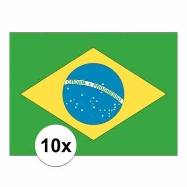 10x stuks vlag van brazilie plakstickers