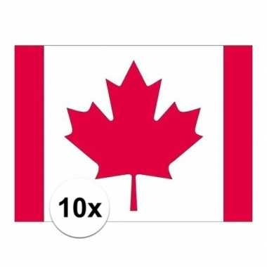 10x stuks vlag van canada plakstickers