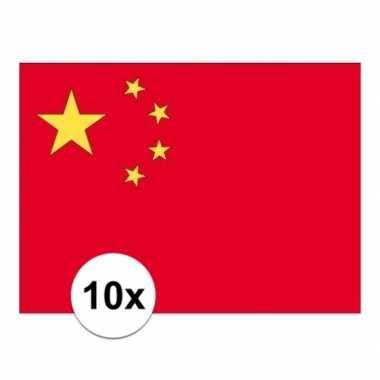 10x stuks vlag van china plakstickers