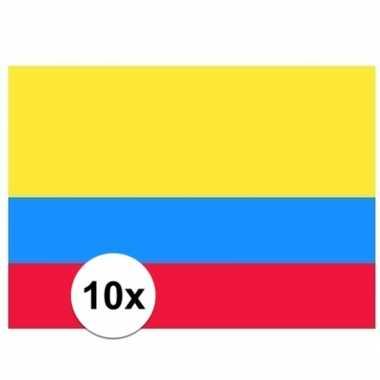 10x stuks vlag van colombia plakstickers