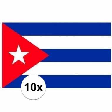 10x stuks vlag van cuba plakstickers