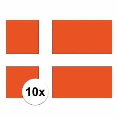 10x stuks vlag van denemarken plakstickers