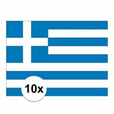 10x stuks vlag van griekenland plakstickers