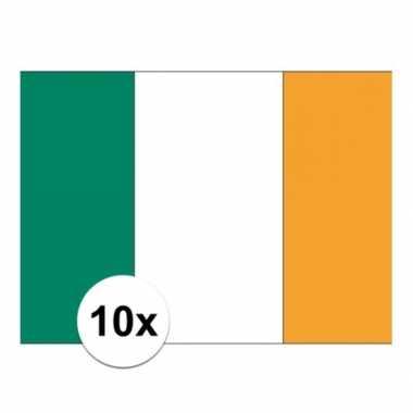 10x stuks vlag van ierland plakstickers