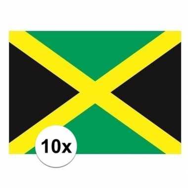 10x stuks vlag van jamaica plakstickers