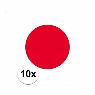 10x stuks vlag van japan plakstickers