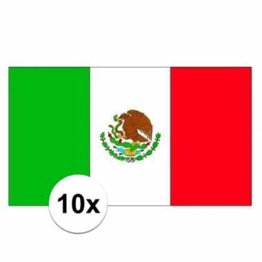 10x stuks vlag van mexico plakstickers