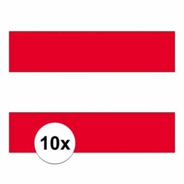 10x stuks vlag van oostenrijk plakstickers