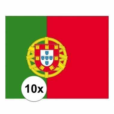 10x stuks vlag van portugal plakstickers