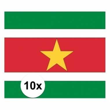 10x stuks vlag van suriname plakstickers