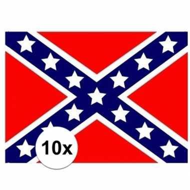 10x stuks vlag van usa rebel plakstickers