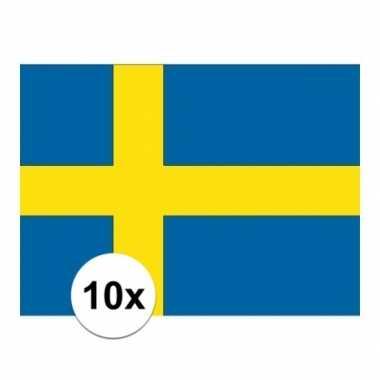 10x stuks vlag van zweden plakstickers