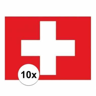 10x stuks vlag van zwitserland plakstickers