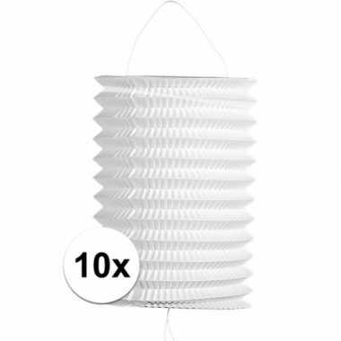 10x stuks witte trek lampionnen van 16 cm