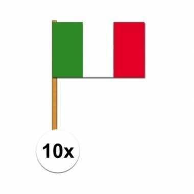 10x stuks zwaaivlaggetjes italie