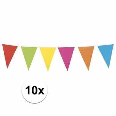 10x vlaggenlijn vrolijke kleuren 10 meter