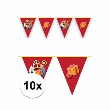 10x vlaggenlijnen versiering sinterklaas 6 meter