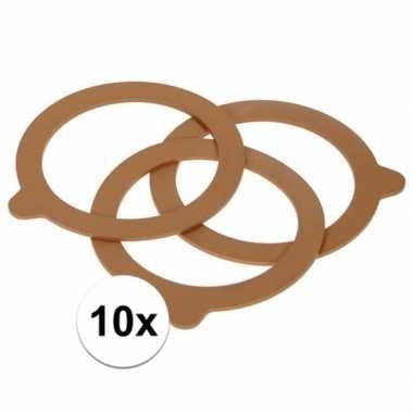10x weckpot inmaakringen rubber bruin 85 mm