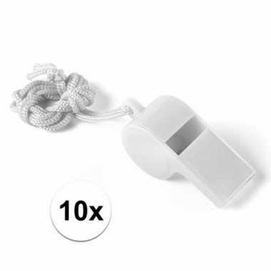 10x wit fluitje aan koord