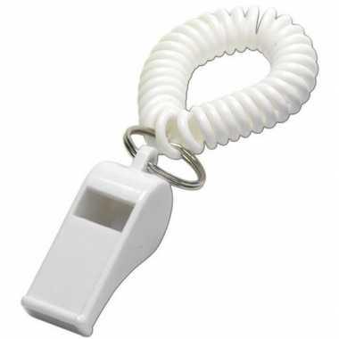 10x witte fluitjes aan polsbandje