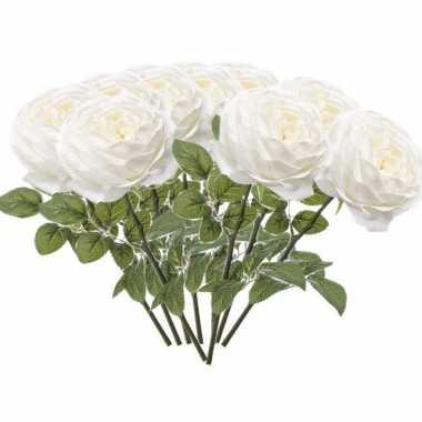 10x witte rozen kunstbloemen 66 cm