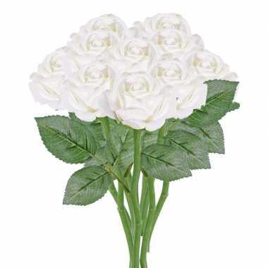 10x witte rozen/roos kunstbloemen 27 cm