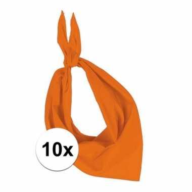 10x zakdoek bandana oranje