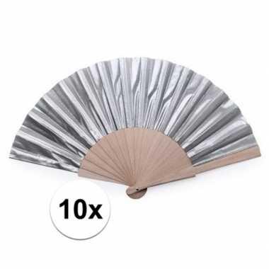 10x zilveren spaanse handwaaiers 42 cm